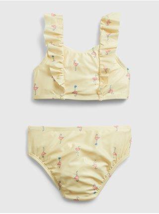 Žluté holčičí dětské plavky ruffle swim two-peice