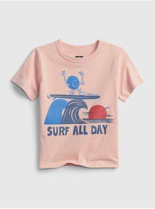 Růžové klučičí dětské tričko 100% organic cotton mix and match graphic t-shirt