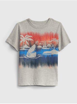 Šedé klučičí dětské tričko 100% organic cotton mix and match graphic t-shirt
