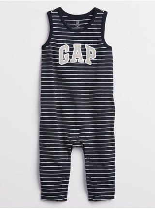 Modrý klučičí baby overal GAP Logo stripe one-piece