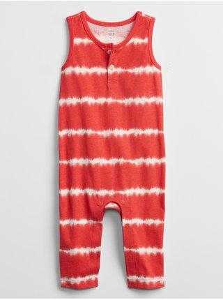 Červený klučičí baby overal tie-dye one-piece
