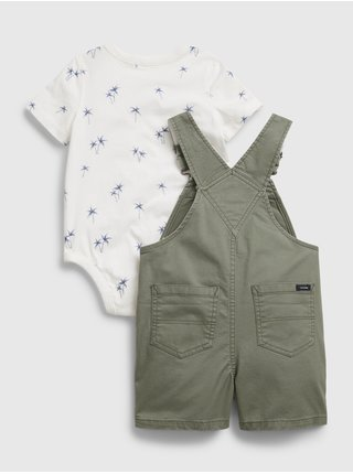 Zelený klučičí baby set woven shortall set