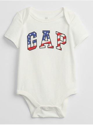 Bílé klučičí baby body GAP Logo flag bodysuit