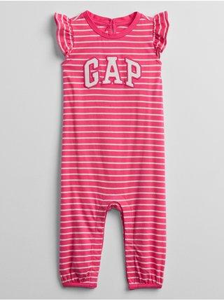 Červený holčičí baby overal GAP Logo stripe one-piece