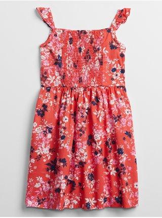 Oranžové holčičí dětské šaty smocked floral dress