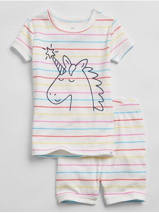 Bílé klučičí dětské pyžamo unicorn stripe 100% organic cotton pj set