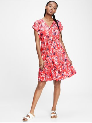 Červené dámské šaty short sleeve tie waist dress