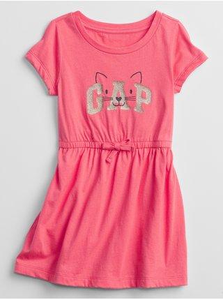 Růžové holčičí dětské šaty GAP Logo cat knit dress