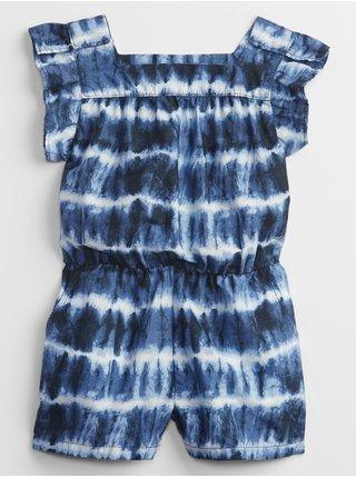 Modrý holčičí dětský overal tie-dye ruffle romper
