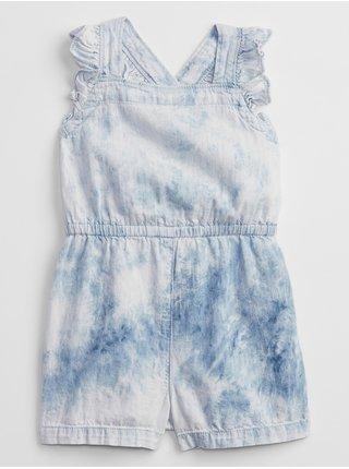 Modrý holčičí dětský overal tie-dye denim romper