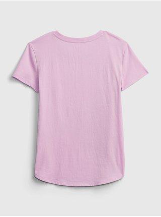 Růžové holčičí dětské tričko short sleeve interactive graphic t-shirt