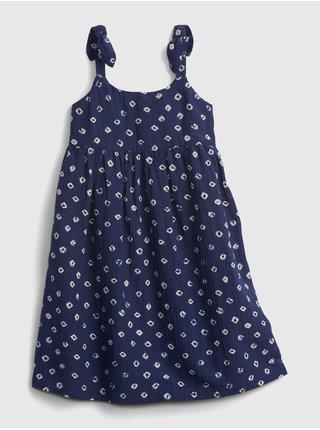 Modré holčičí dětské šaty sleevless knot strap dress