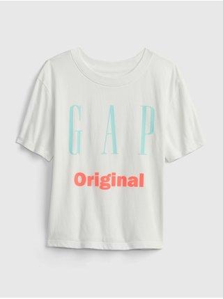 Bílé holčičí dětské tričko GAP Logo original t-shirt