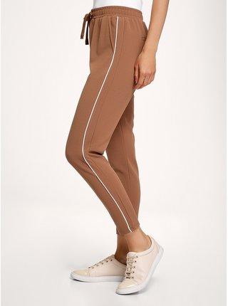 Kalhoty z materiálu s výraznou texturou s lampasy OODJI