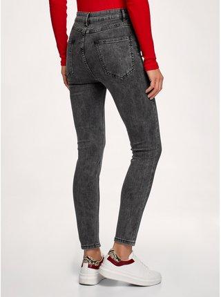 Džínsy skinny s vysokým pásom OODJI