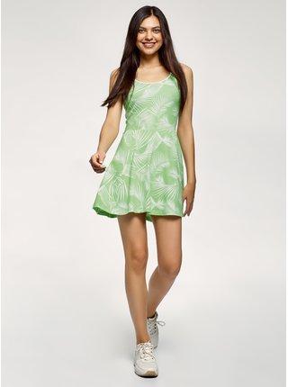 Šaty s potiskem se zvonovou sukní OODJI