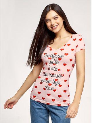 Tričko s potiskem s výstřihem do V OODJI