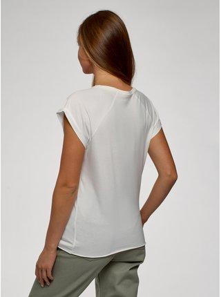 Tričko bavlněné s potiskem a nezačištěným lemem OODJI