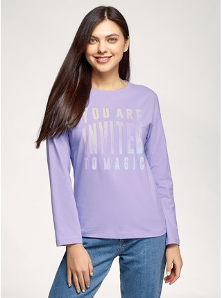 Tričko bavlněné s dlouhým rukávem OODJI