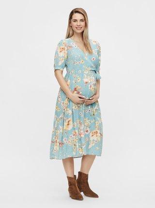 Modré těhotenské květované idišaty Mama.licious Vaiana