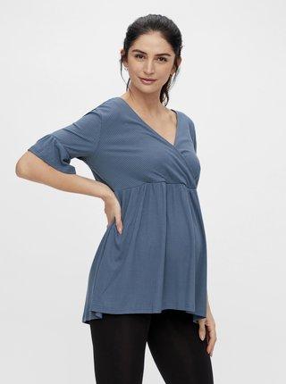 Modrá tehotenská/dojčiaca blúzka Mama.licious Reva