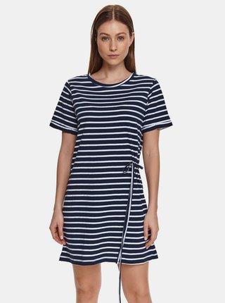 Tmavomodré pruhované šaty so zaväzovaním TOP SECRET