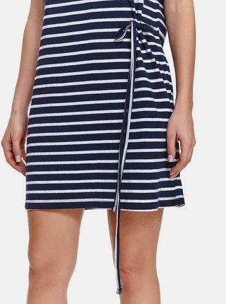 Tmavě modré pruhované šaty se zavazováním TOP SECRET