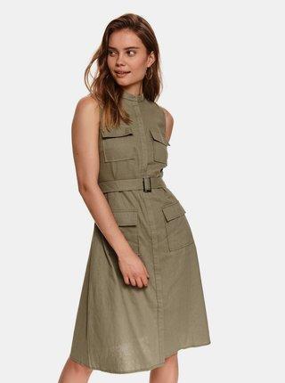 Khaki lněné šaty s kapsami TOP SECRET