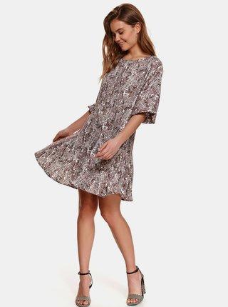 Fialovo-hnedé vzorované šaty so zaväzovaním TOP SECRET