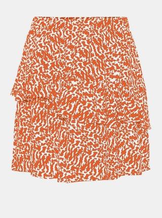 Oranžová vzorovaná sukně AWARE by VERO MODA Hanna