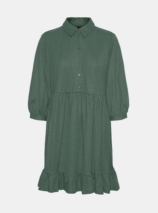Zelené košilové šaty s volánem VERO MODA Gaelle