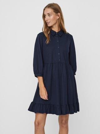 Tmavě modré košilové šaty s volánem VERO MODA Gaelle
