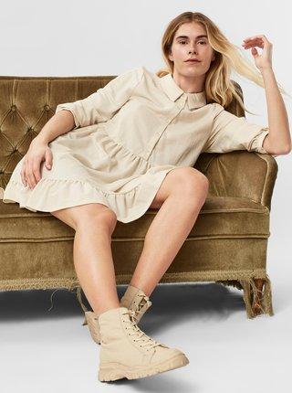 Krémové košilové šaty s volánem VERO MODA Gaelle