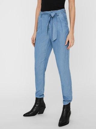 Modré skrátené nohavice so zaväzovaním VERO MODA Mia