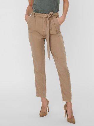 Hnedé skrátené nohavice so zaväzovaním VERO MODA Mia