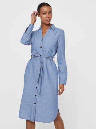 Modré košeľové šaty so zaväzovaním VERO MODA Akela
