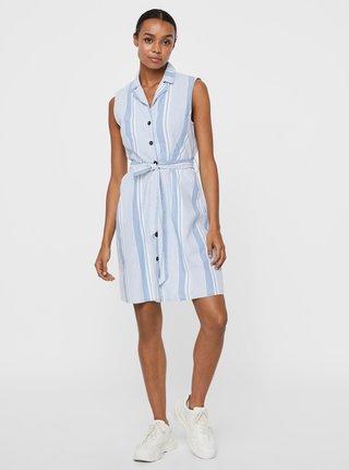Světle modré pruhované košilové šaty VERO MODA Sandy