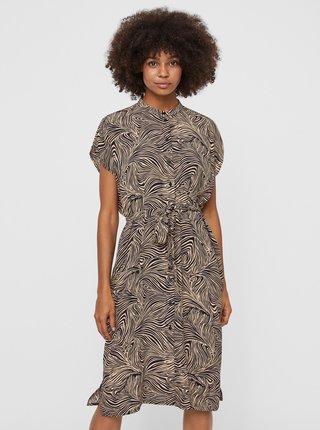 Hnedé vzorované šaty so zaväzovaním VERO MODA Gea