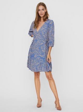 Modré vzorované zavinovací šaty VERO MODA Gea