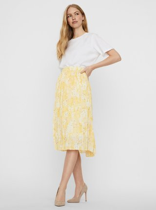 Žlutá vzorovaná plisovaná sukně VERO MODA Flora