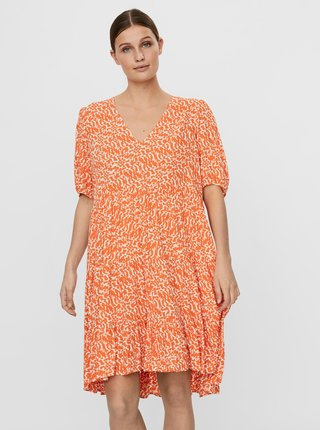 Oranžové vzorované volné šaty AWARE by VERO MODA Hanna