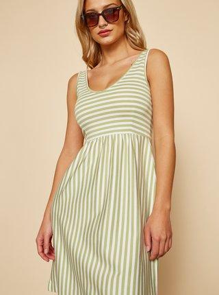 Bílo-zelené pruhované basic šaty ZOOT Baseline Sherlyn