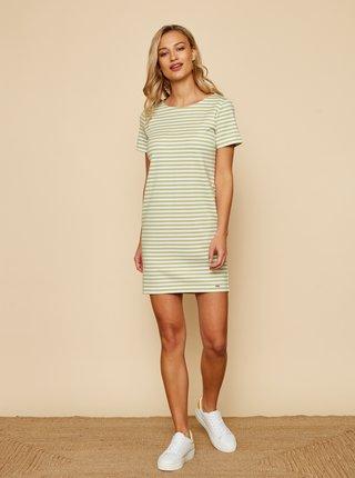 Bielo-zelené pruhované basic šaty ZOOT Baseline Marine