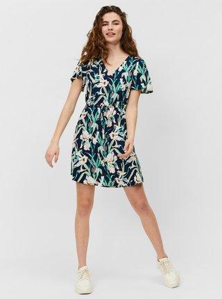 Zeleno-modré květované šaty VERO MODA Simply