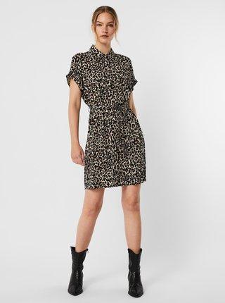Hnědo-černé vzorované košilové šaty VERO MODA Simply