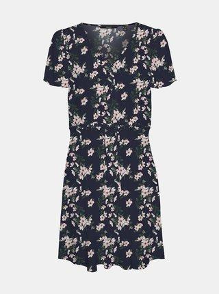 Tmavomodré květované šaty so zaväzovaním VERO MODA CURVE Simply