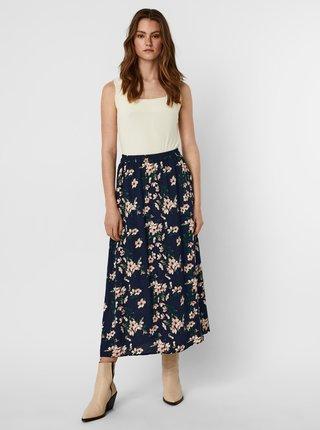 Tmavomodrá kvetovaná maxi sukňa s rozparkom VERO MODA Simply