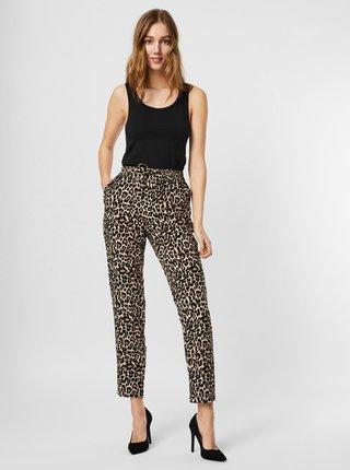 Hnědo-černé vzorované zkrácené kalhoty VERO MODA Simply