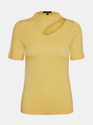 Žlté tričko s priestrihom VERO MODA Glow