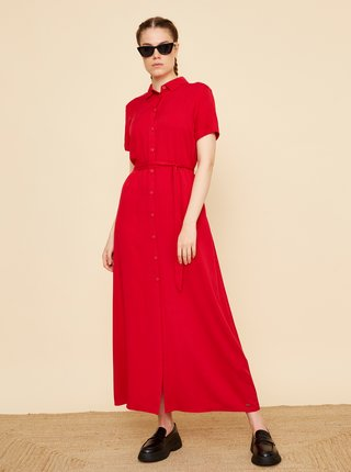 Červené košeľové maxišaty ZOOT Nere